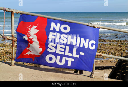 No Fishing Sell-Out banner re Brexit negotiations near inshore fishing boats at West Runton, Norfolk, England, United Kingdom, Europe. - Stock Image