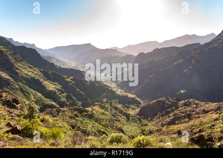 Mountainous landscape in the interior of the Gran Canaria Island, Canary Islands, Spain. Photo taken from the Mirador El Mulato, Lookout Mulatto. - Stock Image
