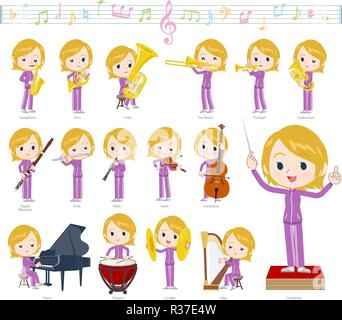 A set of women in sportswear on classical music performances.There are actions to play various instruments such as string instruments and wind instrum - Stock Image