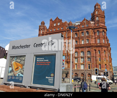 Midland Hotel Manchester, pedestrians and Manchester Central Conference Centre sign, England, UK - Stock Image