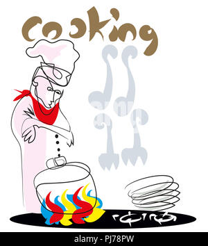 Chef waiting.  Chef looking at pot on the cooker. - Stock Image
