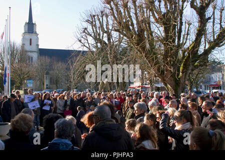 France, North-Western France, Brittany, Les Moutiers-en-Retz, republican gathering to pay tribute to the victims of the Charlie Hebdo attack (07/01/2015) in front of the city hall, Januray, 11th, 2015 - Stock Image