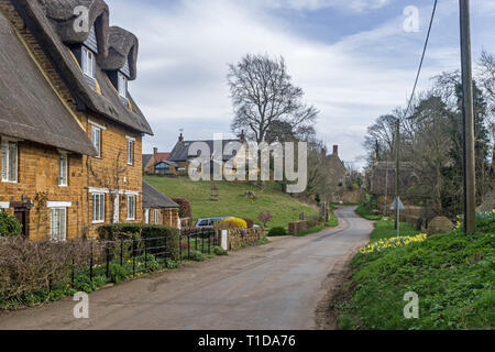 Country lane, with thatched houses to the left, passing through the rural hamlet of Upper Harlestone, Northamptonshire, UK - Stock Image