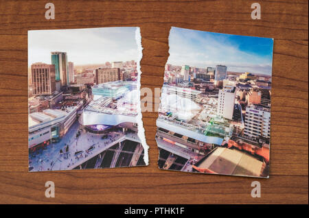a ripped postcard of London - Stock Image