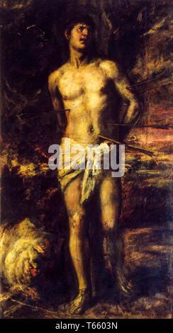 Titian, Saint Sebastian, c. 1575, painting - Stock Image