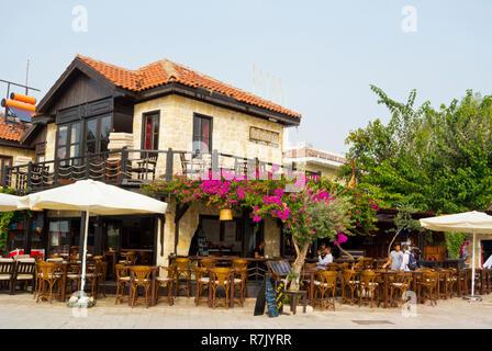 Restaurant by the harbour, Side, Turkey, Eurasia - Stock Image