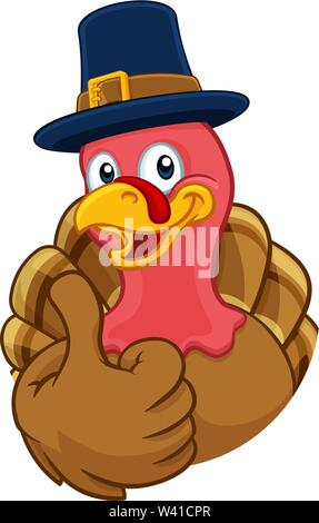 Turkey Pilgrim Hat Thanksgiving Cartoon Character - Stock Image