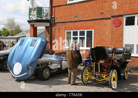 Jaguar D-Type replica and Dennis Tonneau, British Marques Day, 28 April 2019, Brooklands Museum, Weybridge, Surrey, England, Great Britain, UK, Europe - Stock Image