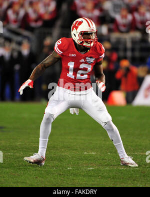 December 19, 2015. Natrell Jamerson #12 of Wisconsin in action during the 2015 National Education Holiday Bowl between - Stock Image