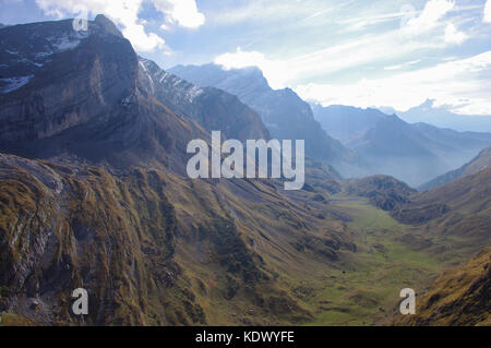 Mountain view and valley view in the Swiss Alps, Vaude, Switzerland - Stock Image