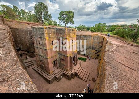 Rock hewn monolithic church of  Bet Giyorgis (Church of St. George) in Lalibela , Ethiopia - Stock Image
