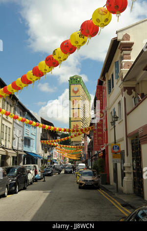 View looking north-west along Temple Street, Chinatown, Singapore - Stock Image