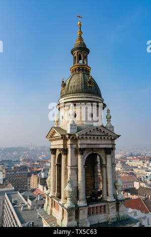 Tower of the St. Stephen's Basilica and aerial cityscape of Budapest, Hungary - Stock Image