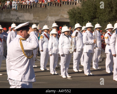 Naval Band Drilling at Gibraltar Tercentenary Celebrations, 300 years of British Rule, 4th August 2004 - Stock Image