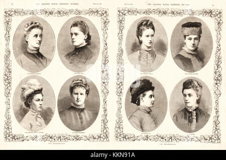 1879 The Graphic Bridesmaids of Princess Louise of Prussia - Stock Image