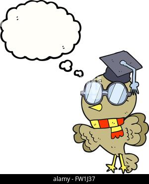 cute freehand drawn thought bubble cartoon well educated bird - Stock Image