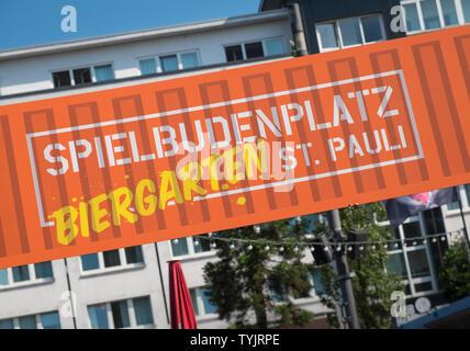 A Beer Garden (Biergarten) street sign in St Pauli district, Hamburg, Germany - Stock Image