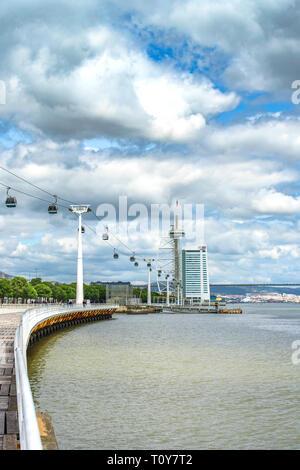 Cable car over Lisboa promenade - Stock Image