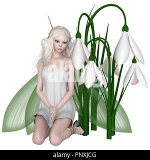 Snowdrop Fairy Kneeling by Winter Flowers - Stock Image