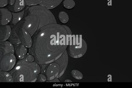 Onyx stones over black plexiglass - Copyspace - Stock Image