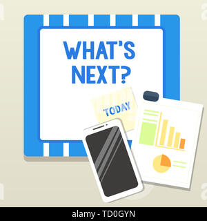 Word writing text What S Next Question. Business photo showcasing asking demonstrating about his coming action or behavior Layout Smartphone Off Stick - Stock Image