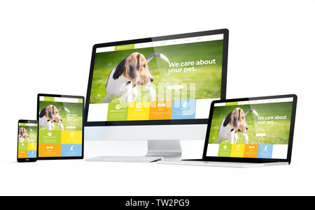 mobility devices isolated with pet website responsive design on screen. 3d rendering. - Stock Image
