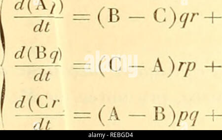 """. comptesrendusheb1121891acad. es naturelles. ( i3o7 ) égales, les deux formules (0 (Py) ^Po8= Pr^Sy^', â a$dw2) â PapPsp(^Â«'. â Â«Y ^2)» ^Paô= A0Pa Ps (div, â a, dw2) â PatPSzd(i, où (jîy) désigne la différence apâ oy. » Envisageons dès à présent les arguments wt, w2 comme fonctions d'une nouvelle variable /, et posons p,=p dt, />, = qdt, p3 = rdt; vs = vdt, vi=v'dl, v3 = v""""dt; dw, â aa dw2 = -r-j du = a$ dw2 = -&, dw{ = <ry dw2 = ^ , 7 j dt , , dt dvi â a,; f/ir._, = =p dn â a£ f/u., = ^ ⢠» Si l'on remplace maintenant, dans les formules (1), les indices (3,  - Stock Image"""