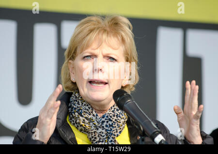 London, UK. 23rd Mar, 2019. Anna Soubry MP for Broxtowe, former Conservative now Independent Group, speaking at the People's Vote March and rally, 'Put it to the People.' Credit: Prixpics/Alamy Live News - Stock Image