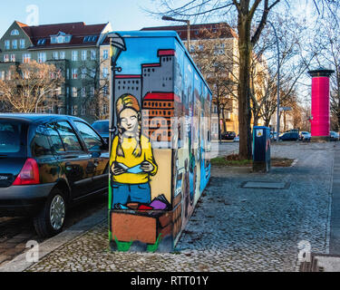 Berlin Wilmersdorf..Paintings & artwork disguise & decorate utility boxes in a suburban street - Stock Image