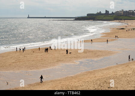 View south along Longsands beach in Tynemouth, north east England, UK - Stock Image