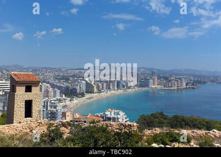 Calpe Spain view from Penon de Ifach to La Fossa beach and blue mediterranean sea - Stock Image