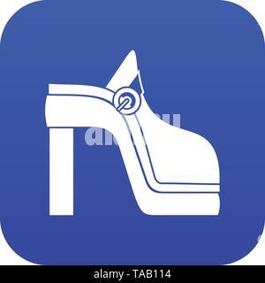 Women shoe icon digital blue - Stock Image