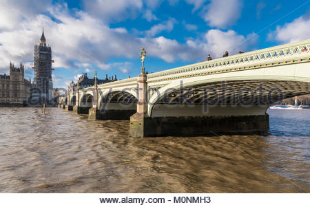 Westminster Bridge looking towards the Palace of Westminster with scaffolding for renovation works in January 2018 - Stock Image
