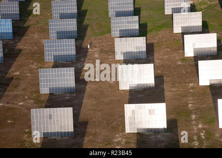 Aerial view  of solar panels in Huelva Province, Spain - Stock Image