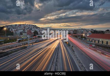 Light trails at Faliro , Greece - Stock Image