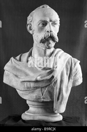 Kosta Khetagurov sculptural portrait - Stock Image