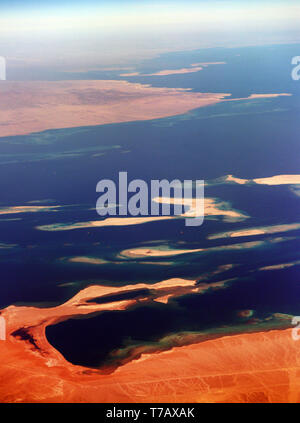 Aerial view of the Egyptian Red Sea coast and the Siniai peninsula. - Stock Image
