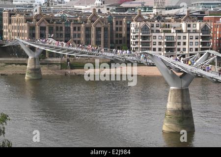 Aerial view of Millennium Bridge London June 2014 - Stock Image