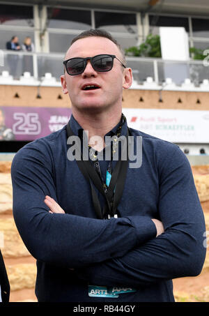 Soccer star Wayne Rooney at the Riyadh Formula E championship race in Saudi Arabia. Following his flight back to America he was charged with public intoxication at the airport in the USA - Stock Image
