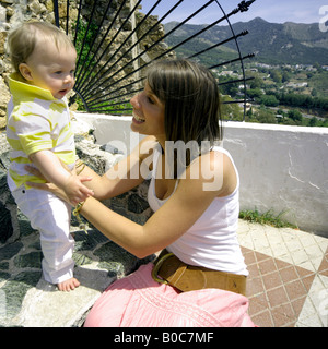 Mother and toddler visiting Mijas, Costa del Sol, Spain - Stock Image