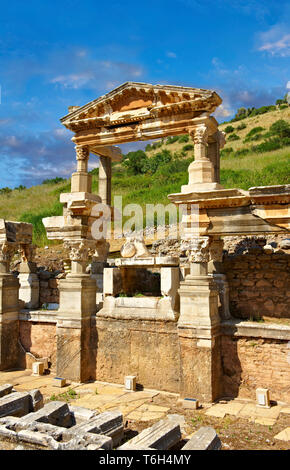 The Fountain of Emperor Trajan on Curetes Street constructed between 102 - 114 A.D. Ephesus Archaeological Site, Anatolia, Turkey. - Stock Image