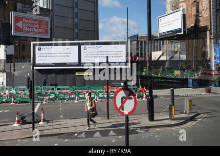 Three billboards proclaiming the truth behind Brexiter claims and ideas are displayed at the junction of Lambeth North in Lambeth, on 11th March 2019, in London, England. - Stock Image