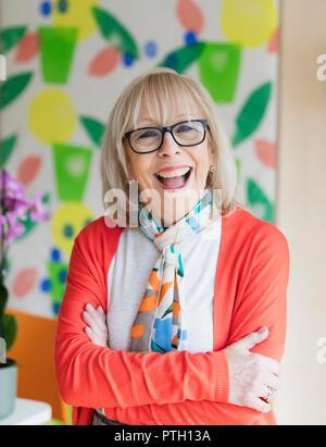 Portrait happy, enthusiastic active senior woman - Stock Image