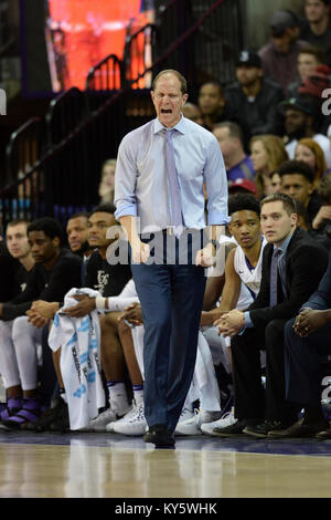 Seattle, WA, USA. 13th Jan, 2018. Washington Head Coach Mike Hopkins showing his intensity during a PAC12 basketball - Stock Image