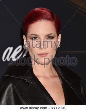 HOLLYWOOD, CA - MARCH 04: Halsey attends the Marvel Studios 'Captain Marvel' premiere at the El Capitan Theatre on March 04, 2019 in Hollywood, California. - Stock Image