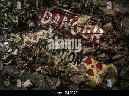 Sign covered with leaves, horizontal version - Stock Image