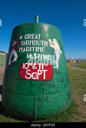 Decorated former large Buoy, advertising The Great Yarmouth Maritime Festival, near the Seafront, Great Yarmouth, - Stock Image