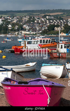 View across The Teign Estuary, with its moored boats, viewed from The Back Beach, Teignmouth, Devon, England, UK - Stock Image
