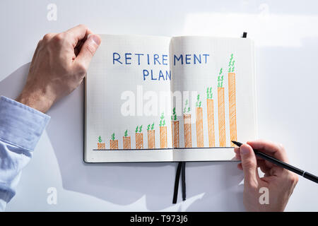Elevated View Of A Human Hand Drawing Retirement Plan Growth Concept On Notebook - Stock Image