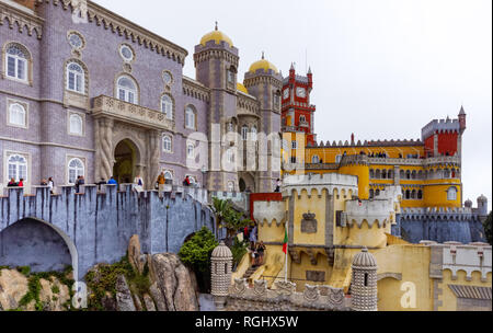 Tourists at the Pena National Palace in Sintra, Portugal - Stock Image